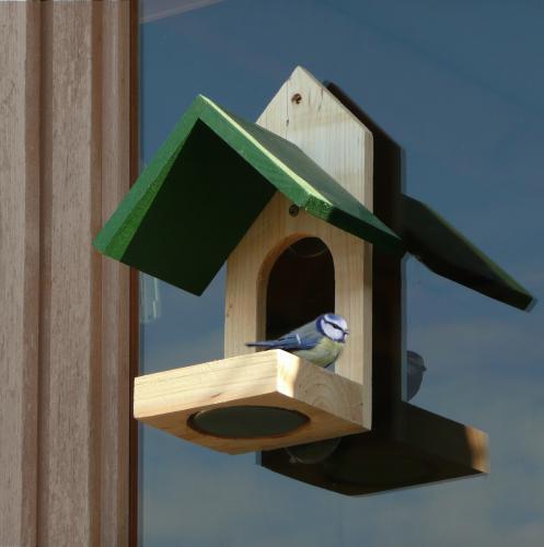 Window-mounted bird table